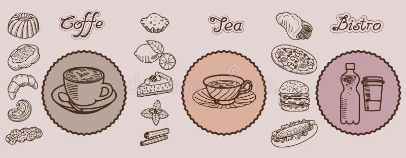 Icônes tirées par la main de vecteur de Bistros de thé de Coffe illustration stock