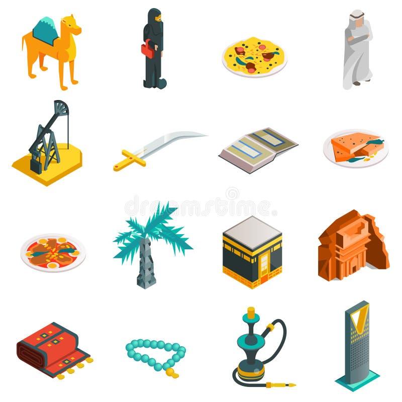 Icônes touristiques isométriques de l'Arabie Saoudite réglées illustration libre de droits