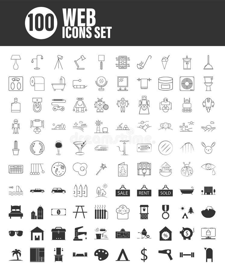 100 ic?nes universelles d'ensemble pour le Web et le mobile illustration de vecteur