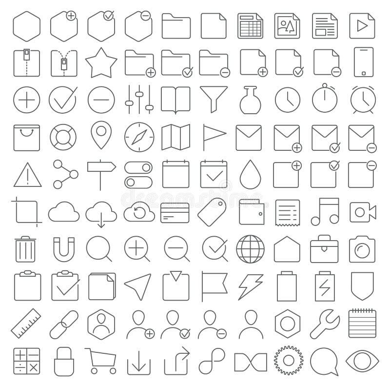 Icônes universelles d'interface réglées illustration libre de droits