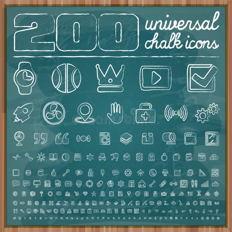 200 icônes universelles dans le style de griffonnage de craie ont placé 2 illustration de vecteur