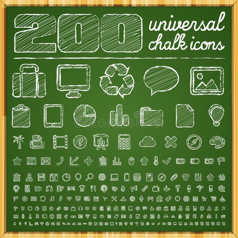 200 icônes universelles dans le style de griffonnage de craie illustration de vecteur