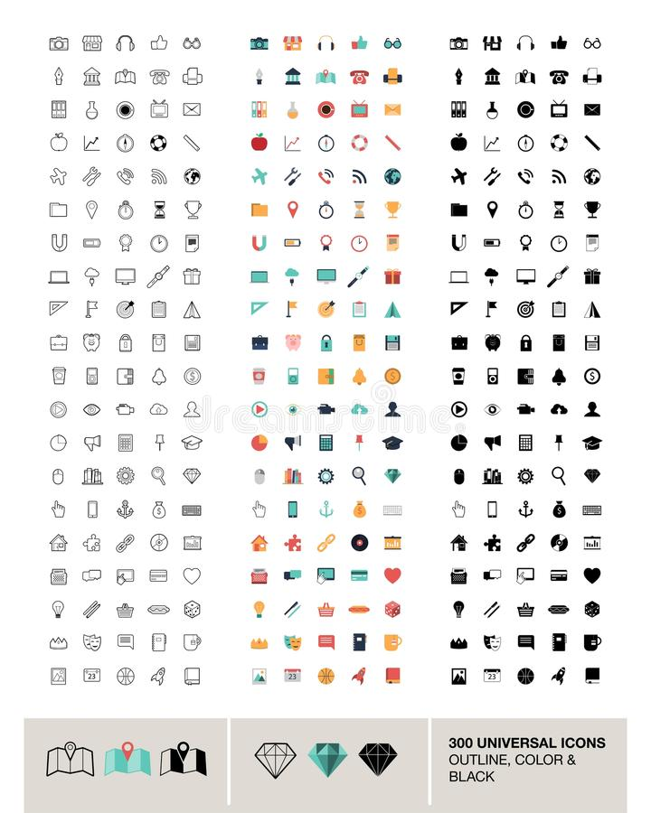 300 icônes universelles de vecteur faites dans le contour, la couleur et le noir illustration libre de droits