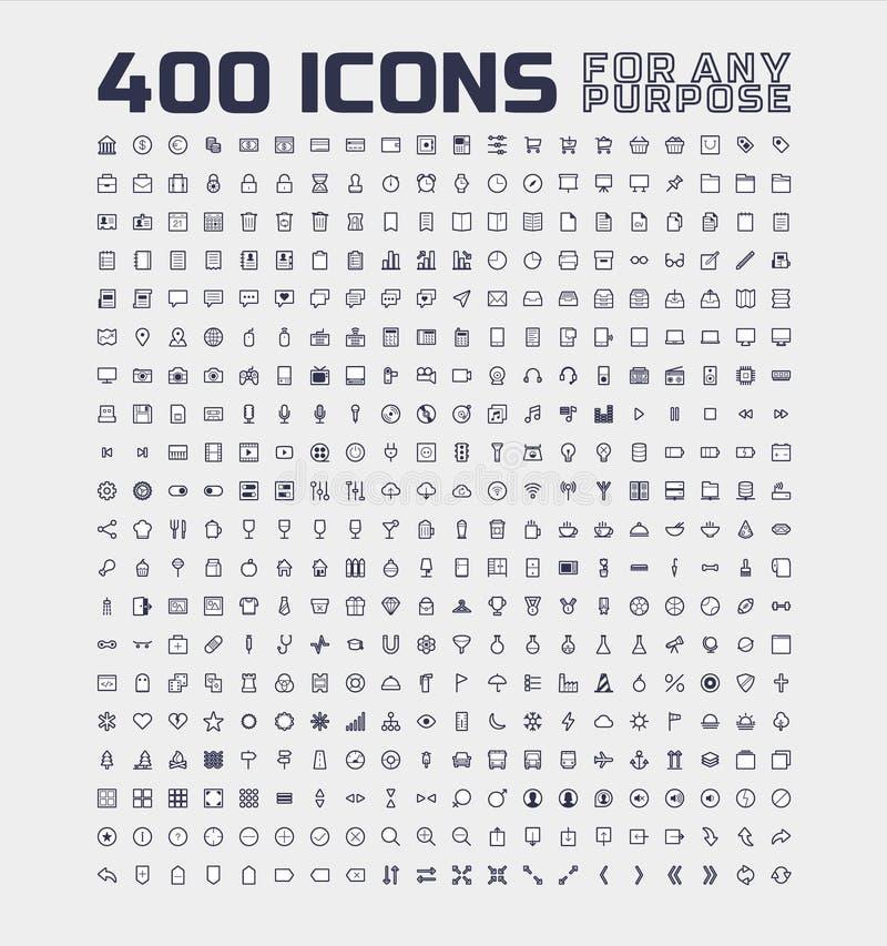 400 icônes universelles pour tout but illustration de vecteur