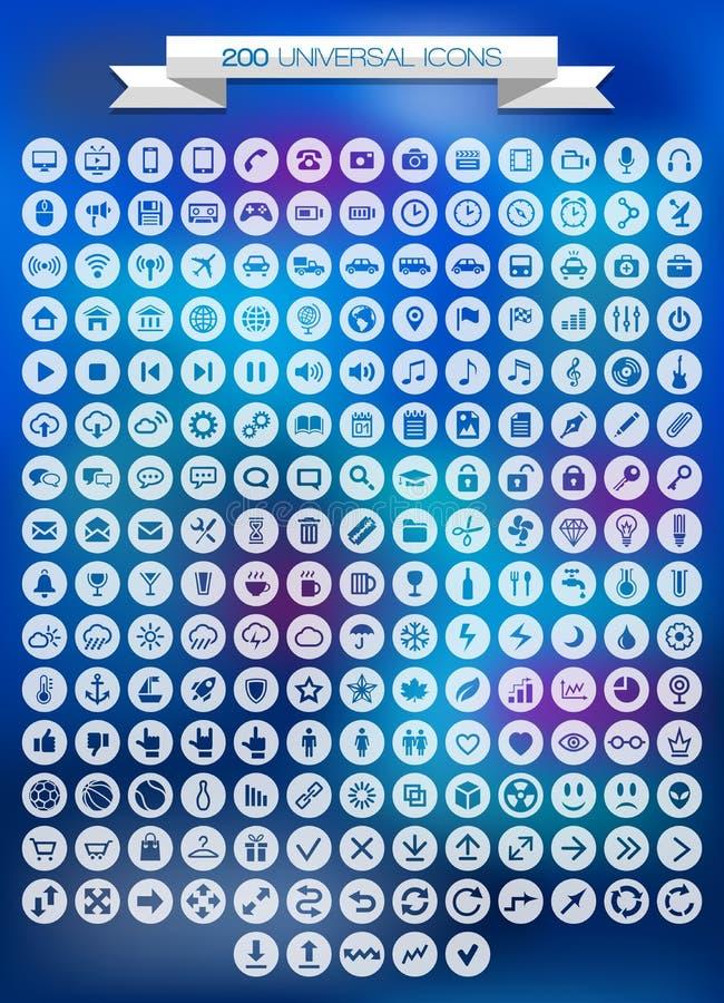 200 icônes universelles réglées illustration libre de droits