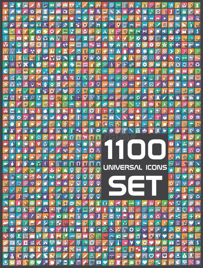 1100 icônes universelles réglées illustration libre de droits