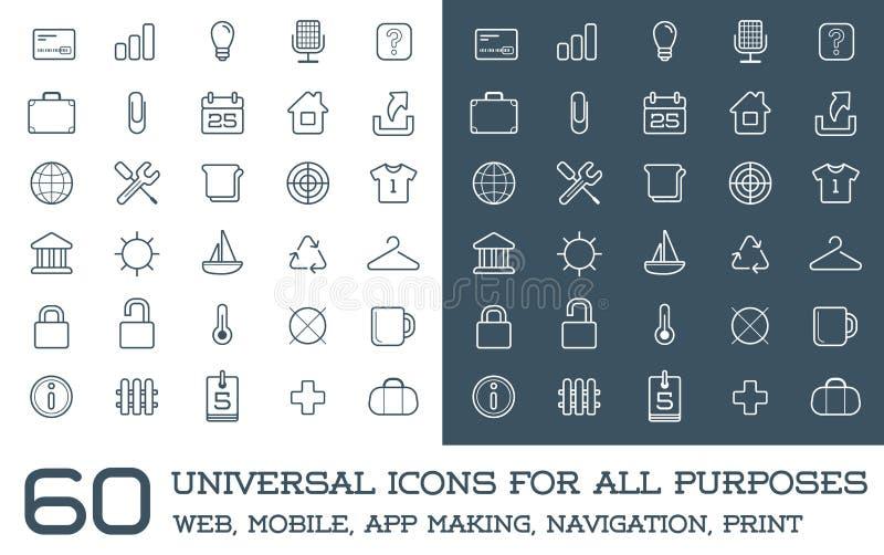 60 icônes universelles réglées pour tout le Web de buts, mobile, fabrication d'APP, illustration libre de droits
