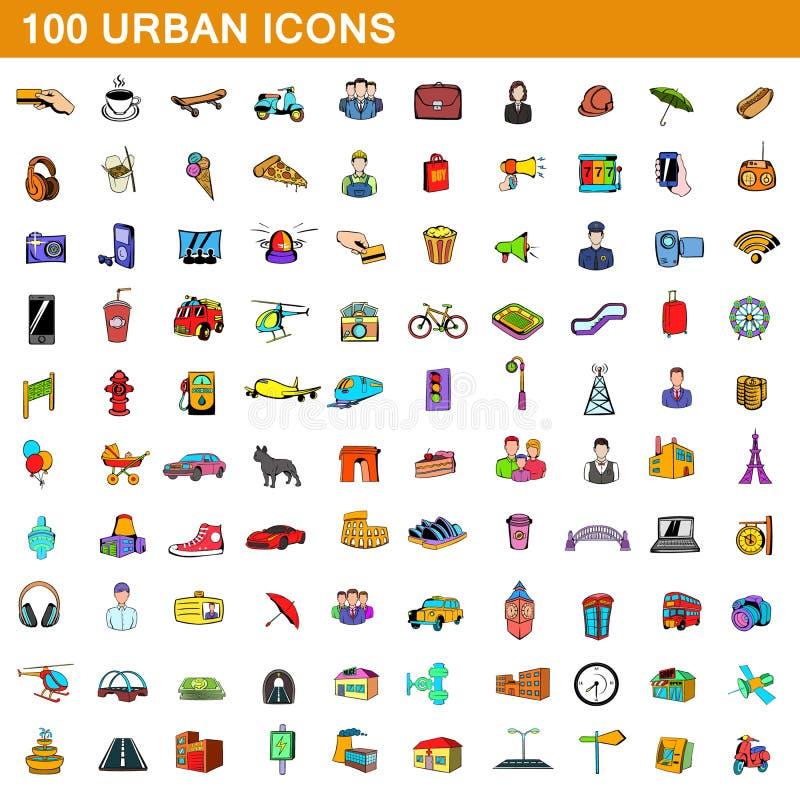 100 icônes urbaines réglées, style de bande dessinée illustration stock