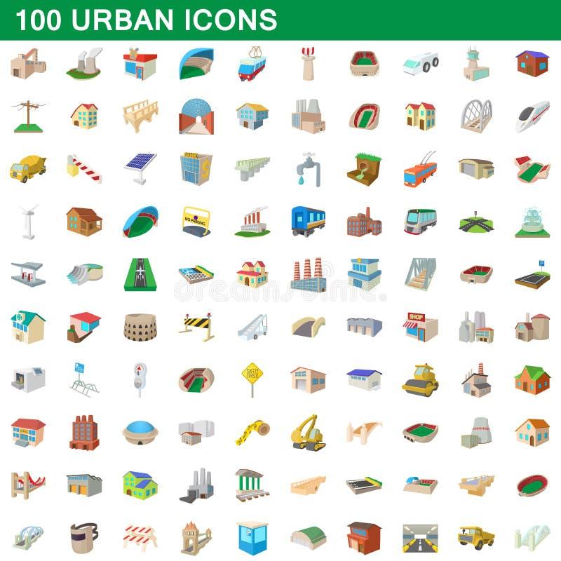 100 icônes urbaines réglées, style de bande dessinée illustration libre de droits