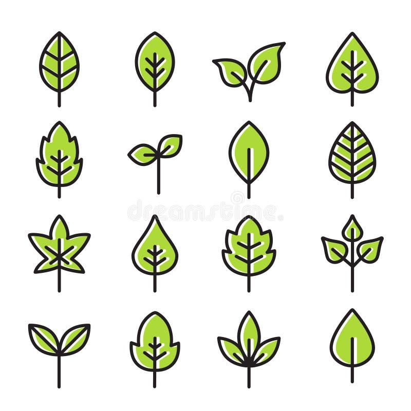 Ic?nes vertes de feuilles - lignes minces illustration stock