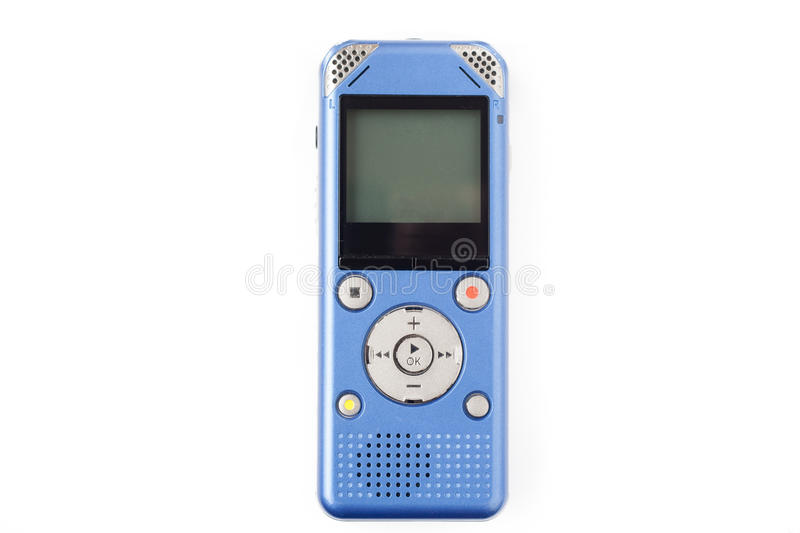 IC recorder on white isolate background. Blue IC recorder on white isolate background royalty free stock images