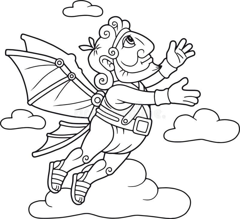 Icarus flyg i himlen stock illustrationer