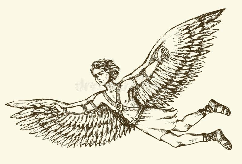 Icarus tecken av gammalgrekiskalegenden bakgrund som tecknar den blom- gräsvektorn vektor illustrationer