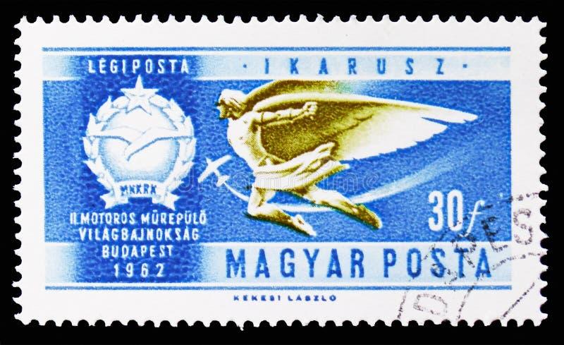 Icarus voor vliegtuigen, Geschiedenis van Luchtvaart serie, circa 1962 stock illustratie
