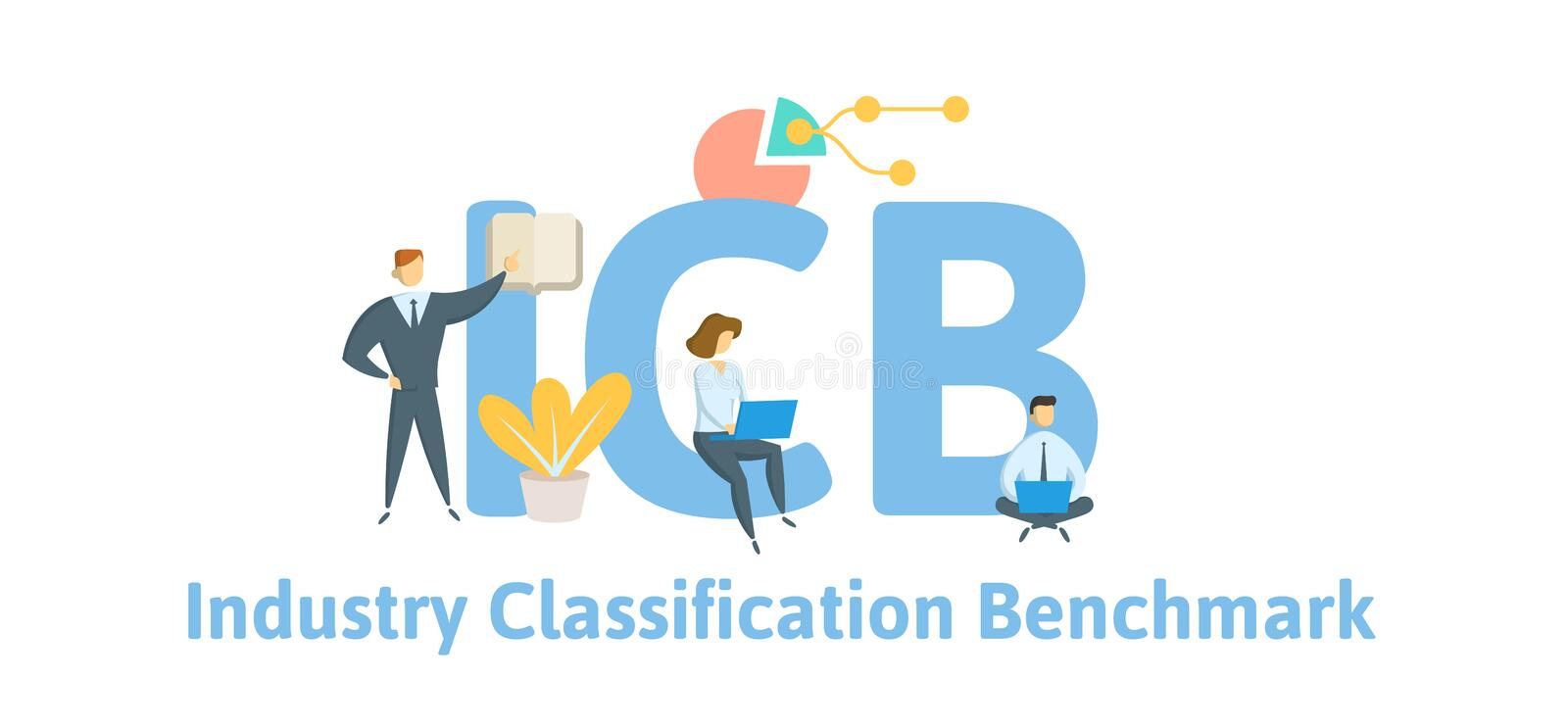 ICB, Industry Classification Benchmark. Concept with keywords, letters and icons. Flat vector illustration. Isolated on. ICB, Industry Classification Benchmark royalty free illustration