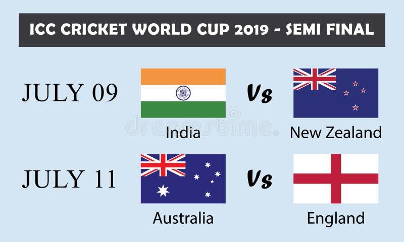 ICC campeonato do mundo 2019 do grilo - semi final ilustração stock
