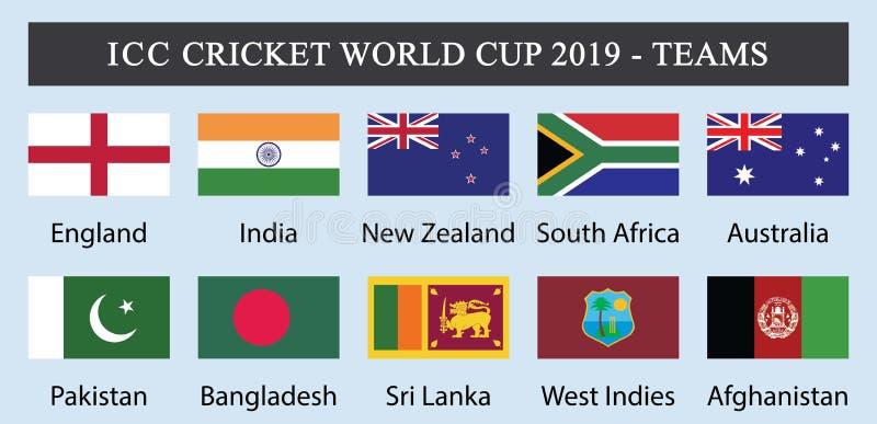 ICC campeonato do mundo 2019-Teams do grilo ilustração do vetor