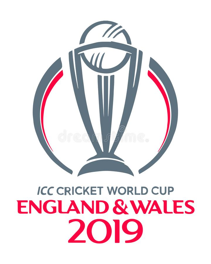 ICC logotipo 2019 do campeonato do mundo do grilo ilustração stock