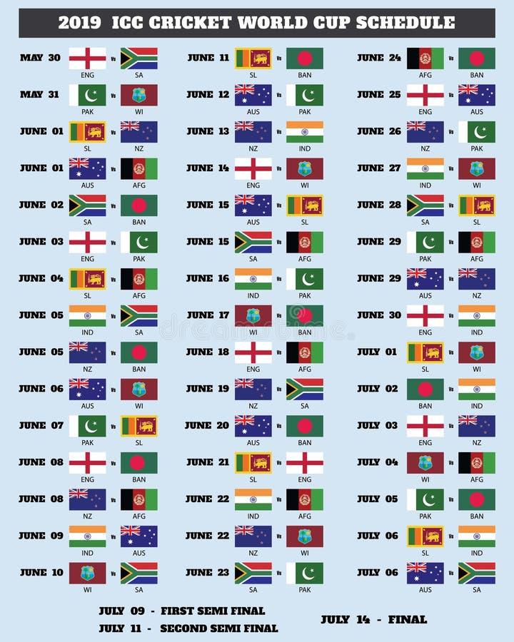ICC programme de la coupe du monde de cricket 2019 illustration stock