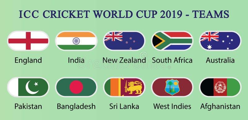 ICC syrsav?rldscup 2019-Teams stock illustrationer