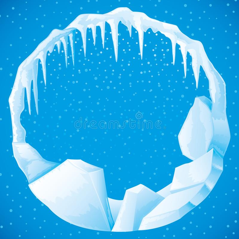 Round frame of ice and icicles. Round frame of ice and icicles on a blue background vector illustration