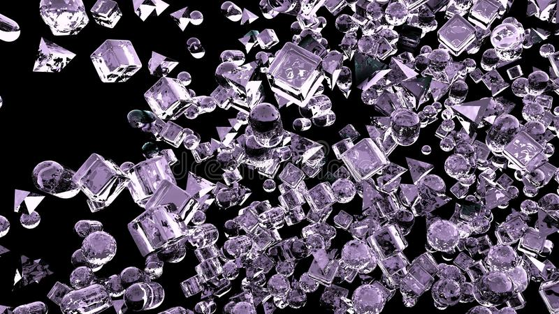 Ice abstract geometric figures flying in slow motion. 3D rendering stock images