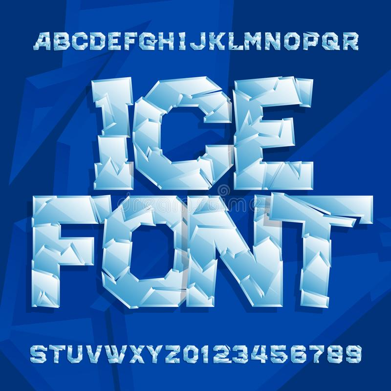Ice alphabet font. Frozen letters and numbers. Stock vector typescript for your typography design stock illustration