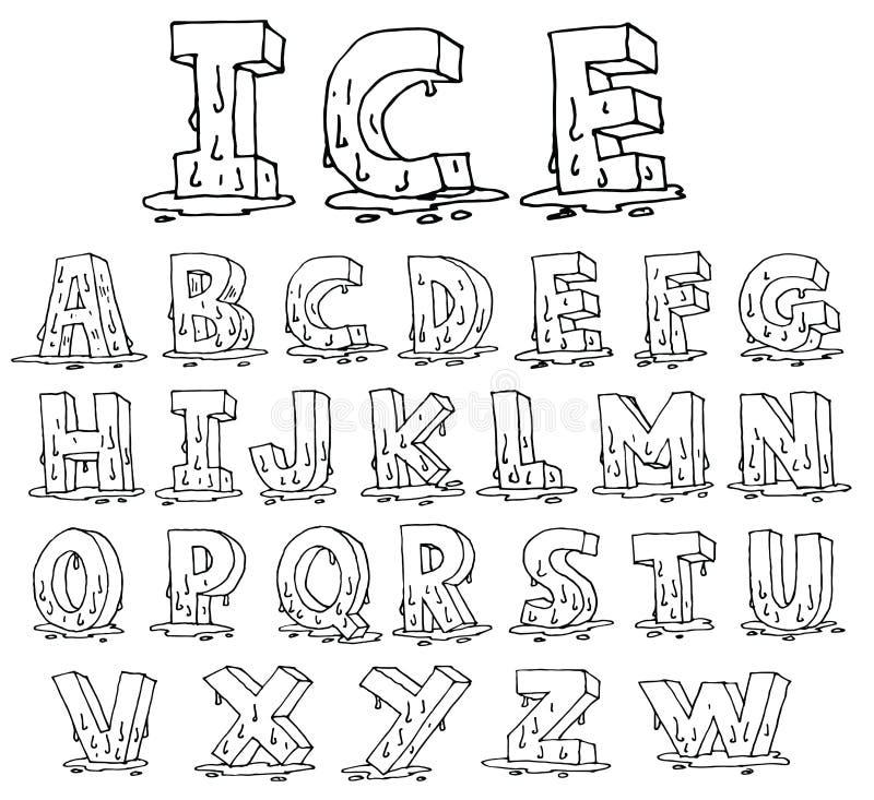 Ice Alphabet font line - Vector illustration. Alphabet font line set- Vector illustration royalty free illustration