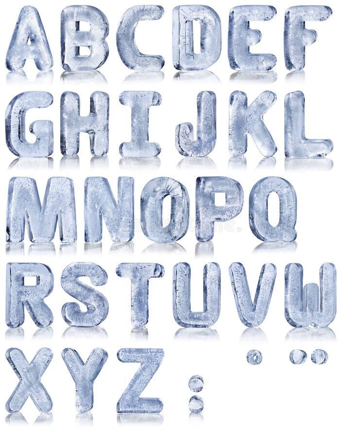 Ice alphabet stock image