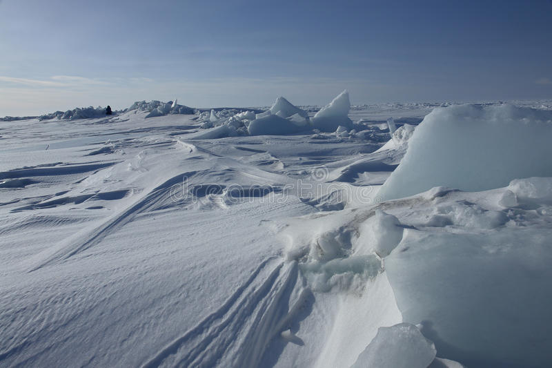 On the ice of the Arctic Ocean. royalty free stock photography