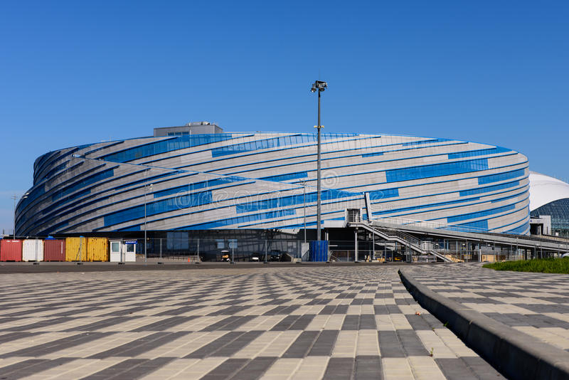 Ice arena Puck. A sports venue for competitions in ice hockey, Olympic Park, Sochi, Russia stock photography