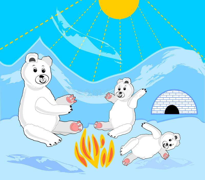 Ice bear cubs with mother by bonfire. Ice bears by igloo. Ice bear sitting. Ice bear baby lying. Cute ice bear illustration. Ice bear in ice landscape. Vector stock illustration