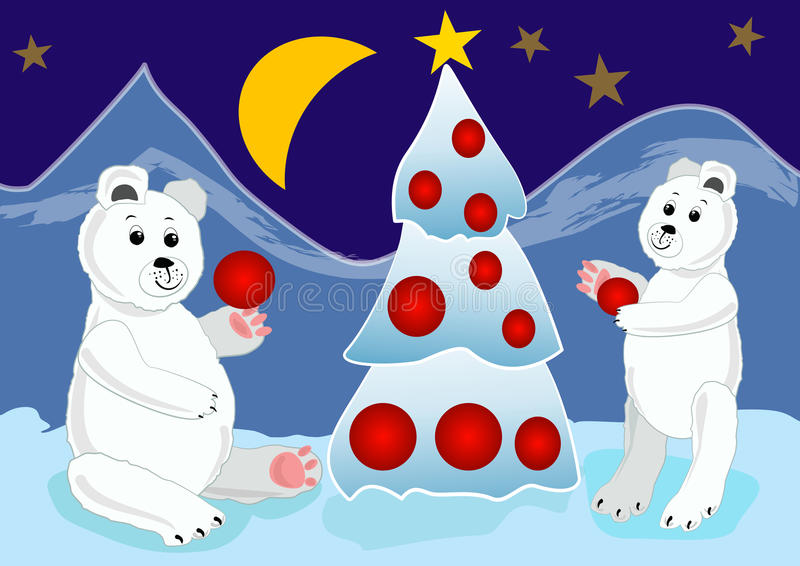 Ice bear cubs preparing christmas tree with red baubles. Christmas card illustration for children. Vector eps10 vector illustration