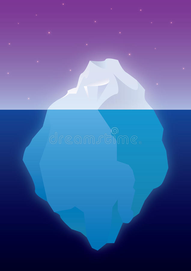 Iceberg. Tip of the iceberg. Floating iceberg both beneath and above the surface. Starry night stock illustration
