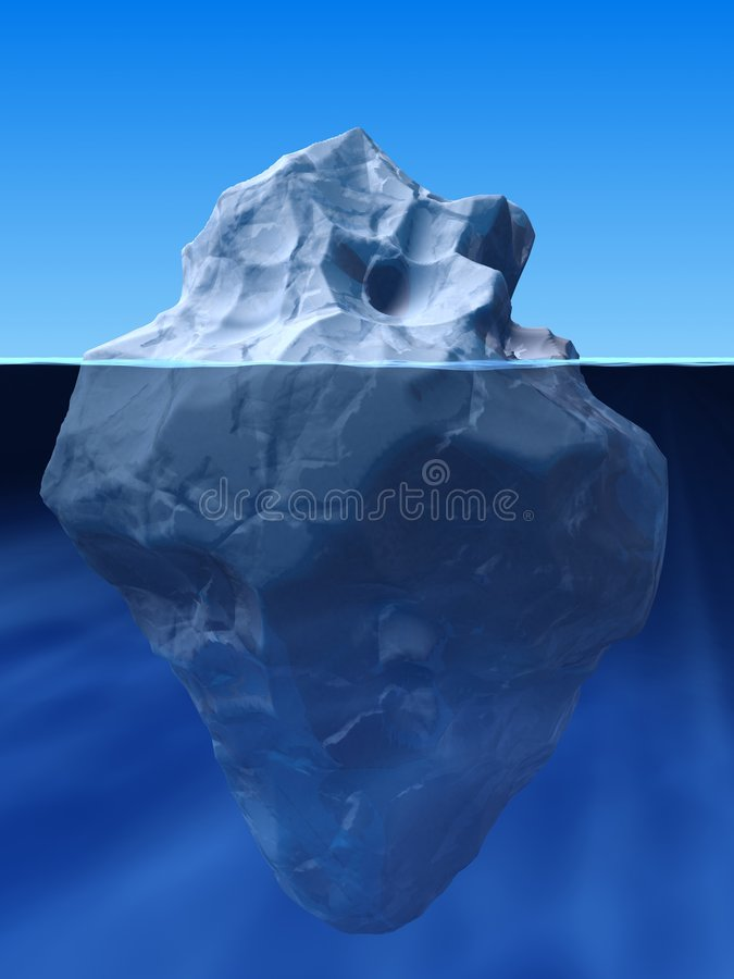 Ice berg. 3d rendered illustration of an ice berg in the water stock illustration