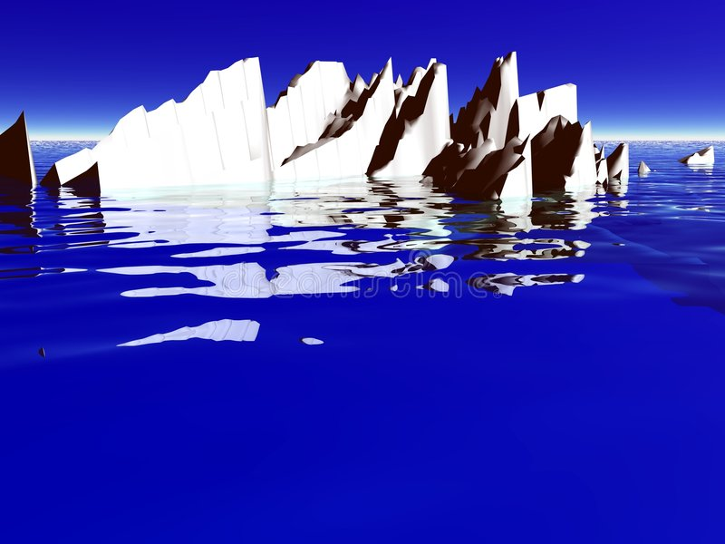 Ice berg. A 3D illustration of an ice berg floating on water royalty free illustration