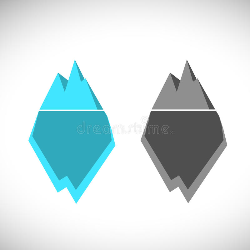 Ice berg illustration icon. Ice berg logo colored and monochrome royalty free illustration