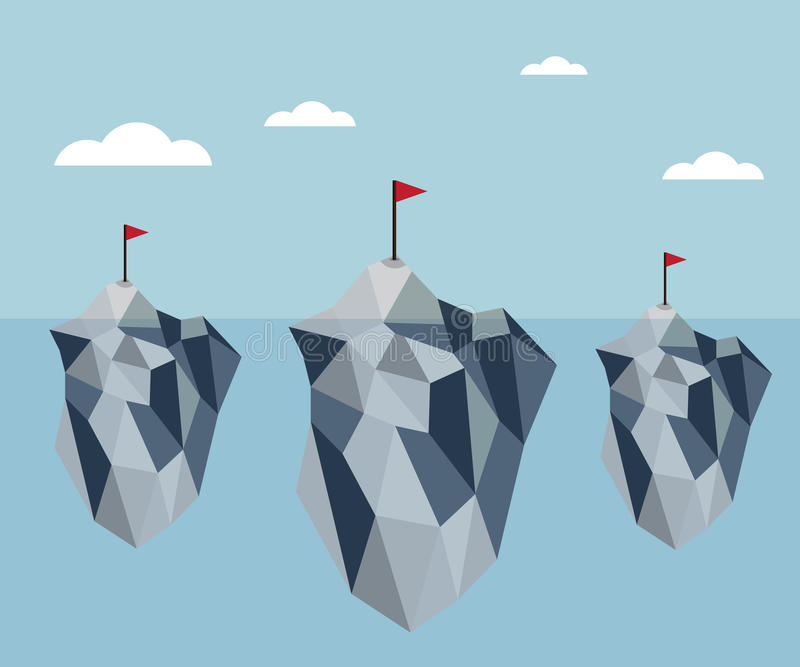 Ice berg polygon background vector. Ice berg with red flag polygon background vector vector illustration