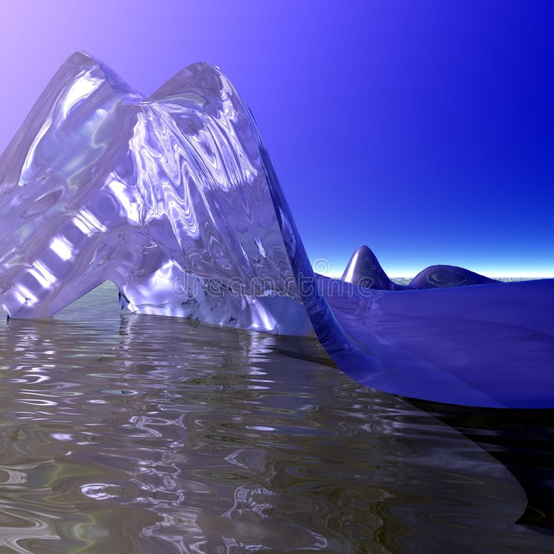 Ice berg and Sun. An illustration of an iceberg floating on water with the sun nearly behind it stock illustration