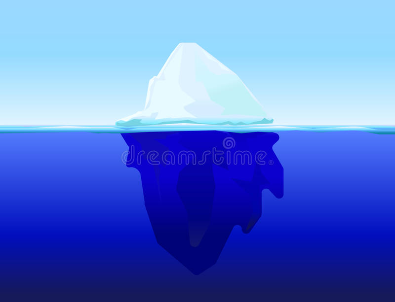 Ice berg on water. Ice berg in water concept vector background vector illustration