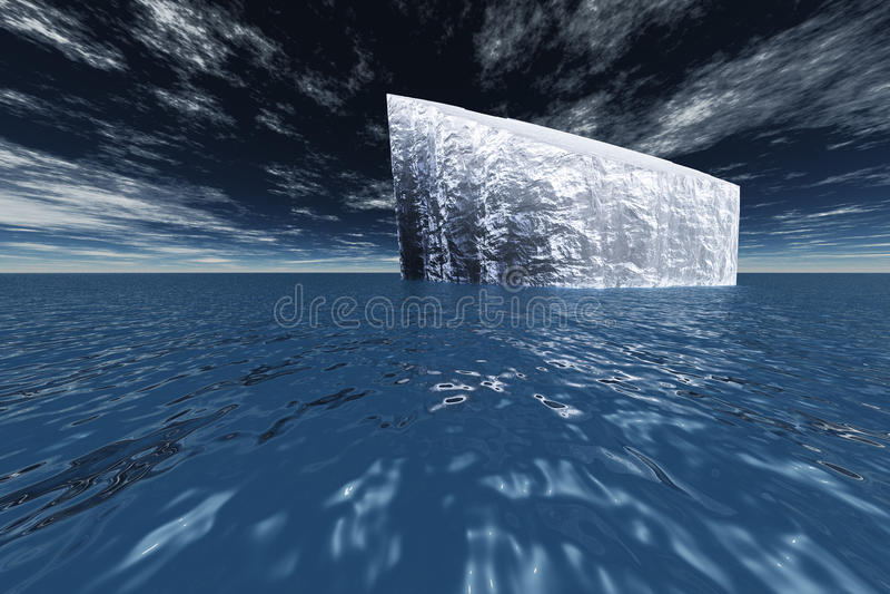 Ice Bergs. Ice Berg in ocean 3D render stock illustration
