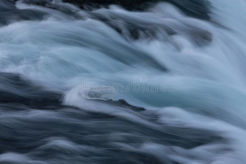 Ice block in the middle of a river at Godafoss waterfall royalty free stock photo
