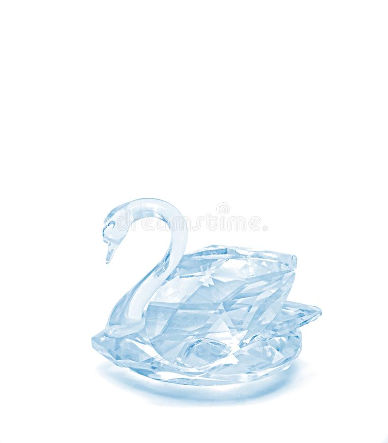 Ice Blue Crystal Glass Swan on White Background, Clipping Path. Ice Blue Crystal Glass Swan Isolated on White Background, Clipping Path stock photo