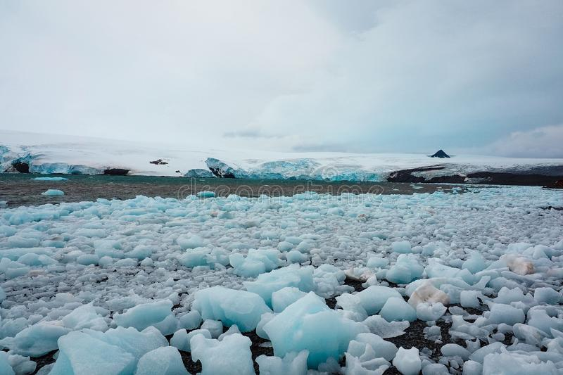 Ice boulders broken off from Antarctic glacier. And floating at the shore royalty free stock image