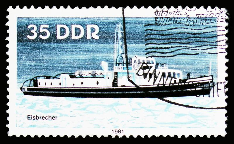 Ice-Breaker, Barges serie, circa 1981. MOSCOW, RUSSIA - OCTOBER 6, 2018: A stamp printed in Germany, Democratic Republic shows Ice-Breaker, Barges serie, circa royalty free stock image