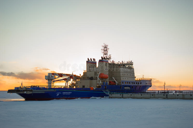 Ice breaker at dock stock images