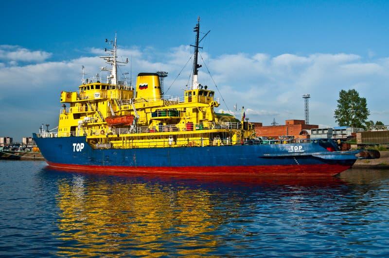 Ice breaker ship. Russian ice breaker ship Tor in Saint Petersburg in Russia. She is a former Swedish vessel Thor stock photo