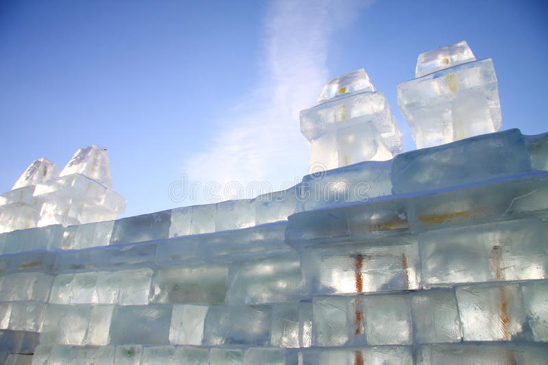 Ice brick wall stock images