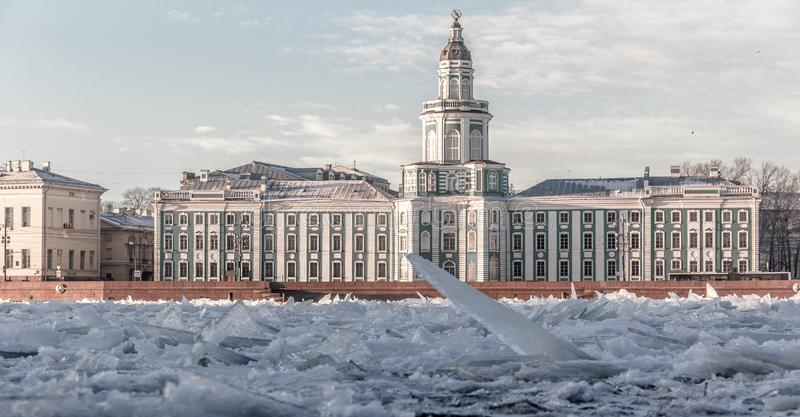 The ice broke on the river Niva. Types Of St. Petersburg. Architecture of the Northern capital of Russia. Old building royalty free stock images