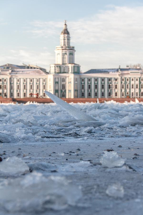 The ice broke on the river Niva. Types Of St. Petersburg. Architecture of the Northern capital of Russia. Old building stock image